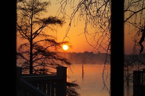 ". . . the sun rising through the mist over the water. My thoughts turned to that old adage, ""God's in his Heaven, all's right with the world."""